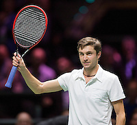 Februari 13, 2015, Netherlands, Rotterdam, Ahoy, ABN AMRO World Tennis Tournament, Gilles Simon (FRA)<br /> Photo: Tennisimages/Henk Koster