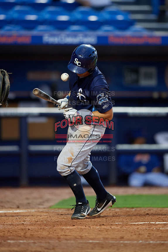 Charlotte Stone Crabs third baseman Kevin Padlo (11) gets hit by a pitch during the first game of a doubleheader against the St. Lucie Mets on April 24, 2018 at First Data Field in Port St. Lucie, Florida.  St. Lucie defeated Charlotte 5-3.  (Mike Janes/Four Seam Images)