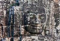 Cambodia, Bayon Temple.  Buddha Face.