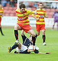 14/08/2010   Copyright  Pic : James Stewart.sct_jsp002_partick_th_v_dundee  .::  IAN FLANNIGAN IS CHALLENGED BY CRAIG MCKEOWN ::.James Stewart Photography 19 Carronlea Drive, Falkirk. FK2 8DN      Vat Reg No. 607 6932 25.Telephone      : +44 (0)1324 570291 .Mobile              : +44 (0)7721 416997.E-mail  :  jim@jspa.co.uk.If you require further information then contact Jim Stewart on any of the numbers above.........