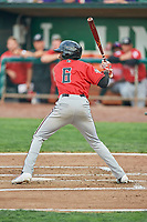Zeek White (6) of the Billings Mustangs bats against the Ogden Raptors at Lindquist Field on August 17, 2018 in Ogden, Utah. Billings defeated Ogden 6-3. (Stephen Smith/Four Seam Images)
