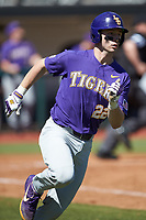 Brock Mathis (22) of the LSU Tigers hustles down the first base line against the Georgia Bulldogs at Foley Field on March 23, 2019 in Athens, Georgia. The Bulldogs defeated the Tigers 2-0. (Brian Westerholt/Four Seam Images)