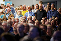 Pictured: Party supporters inside the venue. Tuesday 30 April 2019<br /> Re: Nigel Farage and Anne Widdecombe at the Brexit Party rally at The Neon in Clarence Place in Newport, south Wales, UK.
