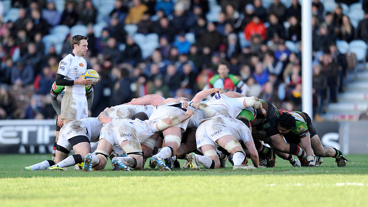Mike Blair of Newcastle Falcons puts the ball into a scrum during the Aviva Premiership match between Harlequins and Newcastle Falcons at the Twickenham Stoop on Saturday 15th February 2014 (Photo by Rob Munro)