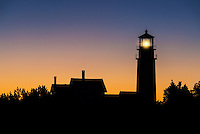 Sillhouette of a lighthouse at dawn, Highland Light, Truro, Cape Cod, Massachusetts, USA