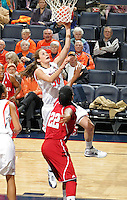 CHARLOTTESVILLE, VA- December 1: Chelsea Shine #50 of the Virginia Cavaliers shoots the ball in front of Sasha Chaplin #22 of the Indiana Hoosiers during the game on December 1, 2011 at the John Paul Jones Arena in Charlottesville, Virginia. Virginia defeated Indiana 65-49. (Photo by Andrew Shurtleff/Getty Images) *** Local Caption *** Chelsea Shine;Sasha Chaplin