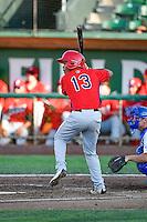 Juan Moreno (13) of the Orem Owlz at bat against the Ogden Raptors in Pioneer League action at Lindquist Field on June 27, 2016 in Ogden, Utah. Orem defeated Ogden 4-3. (Stephen Smith/Four Seam Images)