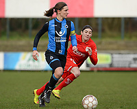 20180127 - AALTER , BELGIUM : Brugge's Barbara Lezy (left) pictured with Standard's Noemie Gelders (r)  during the quarter final of Belgian cup 2018 , a womensoccer game between Club Brugge Dames and Standard Femina de Liege , in Aalter , saturday 27 th January 2018 . PHOTO SPORTPIX.BE | DAVID CATRY