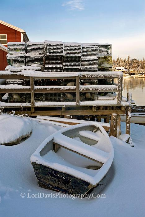 Blue Skiff & Lobster Traps in Snow  #S33