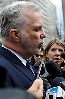 Quebec Premier Philippe Couillard attend Claire Kirkland-Casgrain's  funeral, April2nd, 2016.<br /> <br /> <br /> Photo : Michel Karpoff <br /> - Agence Quebec Presse