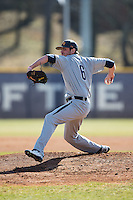 UNCG Spartans starting pitcher Brennen James (6) in action against the High Point Panthers at Willard Stadium on February 14, 2015 in High Point, North Carolina.  The Panthers defeated the Spartans 12-2.  (Brian Westerholt/Four Seam Images)