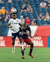FOXBOROUGH, MA - AUGUST 18: Yordy Reyna #29 of D.C. United heads the ball during a game between D.C. United and New England Revolution at Gillette Stadium on August 18, 2021 in Foxborough, Massachusetts.