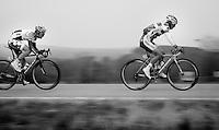 Liège-Bastogne-Liège 2013..Tosh Van der Sande (BEL) closing in on Björn Leukemans' (BEL) wheel.