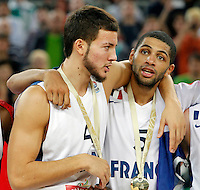 "France`s Nicolas Batum (R) celebrate with Joffrey Lauvergne (L) after European basketball championship ""Eurobasket 2013""  final game between France and Lithuania in Stozice Arena in Ljubljana, Slovenia, on September 22. 2013. (credit: Pedja Milosavljevic  / thepedja@gmail.com / +381641260959)"