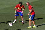 Spanish player Paco Alcacer and Nolito durign the first training of the concentration of Spanish football team at Ciudad del Futbol de Las Rozas before the qualifying for the Russia world cup in 2017 August 29, 2016. (ALTERPHOTOS/Rodrigo Jimenez)