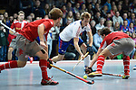 Mannheim, Germany, January 24: During the 1. Bundesliga Herren Hallensaison 2014/15 quarter-final hockey match between Mannheimer HC (white) and Club an der Alster (red) on January 24, 2015 at Irma-Roechling-Halle in Mannheim, Germany. Final score 2-3 (1-2). (Photo by Dirk Markgraf / www.265-images.com) *** Local caption *** Frederik Hillmann #14 of Mannheimer HC