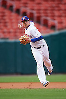 Buffalo Bisons third baseman Matt Dominguez (3) throws to first base during a game against the Durham Bulls on June 13, 2016 at Coca-Cola Field in Buffalo, New York.  Durham defeated Buffalo 5-0.  (Mike Janes/Four Seam Images)