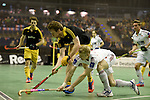Berlin, Germany, February 01: during the 1. Bundesliga Herren Hallensaison 2014/15 final hockey match between Harvestehuder THC (black) and Rot-Weiss Koeln (white) on February 1, 2015 at the Final Four tournament at Max-Schmeling-Halle in Berlin, Germany. Final score 10-7 (6-5). (Photo by Dirk Markgraf / www.265-images.com) *** Local caption ***