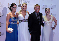 12/2/11 Ireland AM's Victoria O'Brien, Anna Daly, Alan Hughes and Sinead Desmond on the red carpet at the 8th Irish Film and Television Awards at the Convention centre in Dublin. Picture:Arthur Carron/Collins