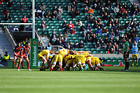 La Rochelle have a scrum in front of the Touloues posts as the 10,00 fans look on during the Heineken Champions Cup Final match between La Rochelle and Toulouse at Twickenham Stadium on Saturday 22 May 2021 (Photo by Rob Munro/Stewart Communications)