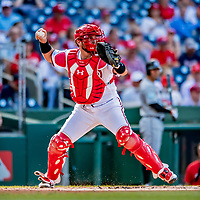 26 September 2018: Washington Nationals catcher Spencer Kieboom in action against the Miami Marlins at Nationals Park in Washington, DC. The Nationals defeated the visiting Marlins 9-3, closing out Washington's 2018 home season. Mandatory Credit: Ed Wolfstein Photo *** RAW (NEF) Image File Available ***