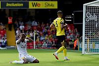 11th September 2021; Vicarge Road, Watford, Herts,  England;  Premier League football, Watford versus Wolverhampton Wanderers; Nélson Semedo of Wolverhampton Wanderers reacts as he misses a chance on goal