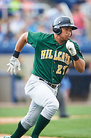 Lynchburg Hillcats designated hitter Anthony Santander (27) runs to first base during a game against the Wilmington Blue Rocks on June 3, 2016 at Judy Johnson Field at Daniel S. Frawley Stadium in Wilmington, Delaware.  Lynchburg defeated Wilmington 16-11 in ten innings.  (Mike Janes/Four Seam Images)