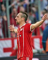 Franck RIBERY, FCB 7 celebration 5-0 celebration, celebration, celebrates, Freude, , Feiern, Lachen, celebrates, freuen,  reisst die Arme hoch, ballt die Faust <br /> FC BAYERN MUENCHEN - HAMBURGER SV <br /> Football 1. Bundesliga , Muenchen,10.03.2018, 26. match day,  2017/2018, , HSV<br />  *** Local Caption *** © pixathlon<br /> Contact: +49-40-22 63 02 60 , info@pixathlon.de