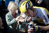 38 year old Maarten Tjallingii (NLD/LottoNL-Jumbo) is comforted by his kids as he finishes his very last Roubaix<br /> <br /> 114th Paris-Roubaix 2016