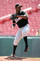 May 9, 2009:  Relief Pitcher Radhames Liz of the Norfolk Tides, International League Class-AAA affiliate of the Baltimore Orioles, delivers a pitch during a game at Coca-Cola Field in Buffalo, FL.  Photo by:  Mike Janes/Four Seam Images