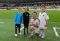 Pictured: Children mascots. Saturday 17 September 2011<br /> Re: Premiership football Swansea City FC v West Bromwich Albion at the Liberty Stadium, south Wales.
