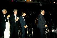 FILE - Yvon Deschamps, Robert Bourassa,<br /> Jacques Parizeau<br /> , la Nuit des REA<br /> , 17 novembre 1987 au Palais des Congres.<br /> <br /> <br /> <br /> PHOTO  : Pierre Roussel - Agence Quebec Presse
