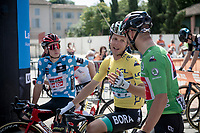 start line with jersey wearers:<br /> - green: Sonny Colbrelli (ITA/Bahrain - Victorious)<br /> - yellow: Lukas Pöstlberger (AUT/BORA - hansgrohe)<br /> - polka-dot: Matthew Holmes (GBR/Lotto Soudal)<br /> <br /> 73rd Critérium du Dauphiné 2021 (2.UWT)<br /> Stage 6 from Loriol-sur-Drome to Le Sappey-en-Chartreuse (167km)<br /> <br /> ©kramon