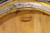 Oak barrel from Demptos Bordeaux France  Bodega Del Anelo Winery, also called Finca Roja, Anelo Region, Neuquen, Patagonia, Argentina, South America