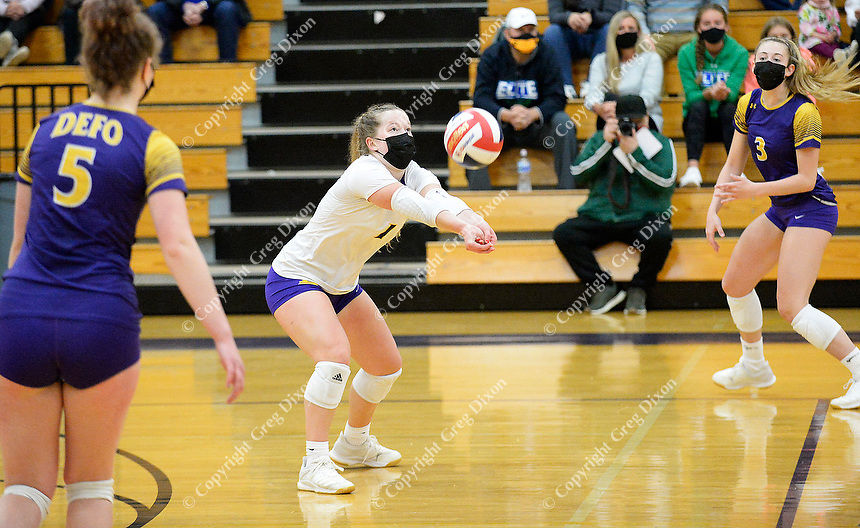 DeForest's Megan Elvekrog performs a pass, as DeForest tops Waunakee 3 sets to 1 in Wisconsin WIAA girls high school volleyball regional finals on Saturday, Apr. 10, 2021 at DeForest High School   Wisconsin State Journal article page C6 Sports Apr. 11, 2021 and online at https://madison.com/wsj/sports/high-school/volleyball/natalie-compe-norskies-win-regional-final/article_900df333-504a-56c8-abab-b9a29f42621a.html