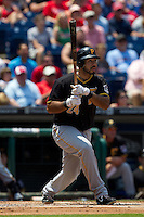 Pittsburgh Pirates  third baseman Pedro Alvarez #24 watches his first inning home run during the Major League Baseball game against the Philadelphia Phillies on June 28, 2012 at Citizens Bank Park in Philadelphia, Pennsylvania. The Pirates defeated the Phillies 5-4. (Andrew Woolley/Four Seam Images)..