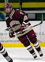 "19 January 2007: Boston College defenseman Brian O'Hanley from Quincy, MA, warms up prior to a Hockey East division matchup against the University of Vermont at Gutterson Fieldhouse in Burlington, Vermont. The UVM Catamounts defeated the BC Eagles 3-2 before a record setting 50th consecutive sellout at ""the Gut""...Mandatory Photo Credit: Ed Wolfstein Photo."