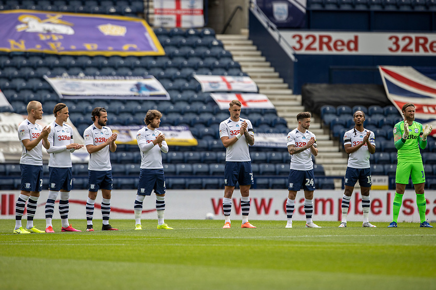 Preston North End players take part in a minute's applause for the late Jack Charlton<br /> <br /> Photographer Andrew Kearns/CameraSport<br /> <br /> The EFL Sky Bet Championship - Preston North End v Nottingham Forest - Saturday 11th July 2020 - Deepdale Stadium - Preston <br /> <br /> World Copyright © 2020 CameraSport. All rights reserved. 43 Linden Ave. Countesthorpe. Leicester. England. LE8 5PG - Tel: +44 (0) 116 277 4147 - admin@camerasport.com - www.camerasport.com