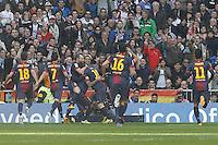 FC Barcelona's Jordi Alba, David Villa, Andres Iniesta, Daniel Alves, Leo Messi, Sergio Busquets and Thiago Alcantara celebrate goal during La Liga match.March 02,2013. (ALTERPHOTOS/Acero) /NortePhoto