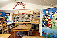 One of the work areas, Summerhill School, Leiston, Suffolk. The school was founded by A.S.Neill in 1921 and is run on democratic lines with each person, adult or child, having an equal say.  You don't have to go to lessons if you don't want to but could play all day.  It gets above average GCSE exam results.