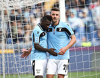 Football, Serie A: S.S. Lazio - Spal, Olympic stadium, Rome, February 2, 2020. <br /> Lazio's Felipe Caicedo (l) celebrates after scoring  his second goal in the match with his teammate Sergej Milinkovic-Savic (r) during the Italian Serie A football match between S.S. Lazio and Spali at Rome's Olympic stadium, Rome , on February 2, 2020. <br /> UPDATE IMAGES PRESS/Isabella Bonotto