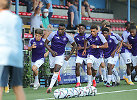 RSCA players sprinting during the warm up before a friendly soccer game between K Londerzeel SK and RSC Anderlecht Reserves during the preparations for the 2021-2022 season , on Wednesday 21st of July 2021 in Londerzeel , Belgium . PHOTO SEVIL OKTEM   SPORTPIX