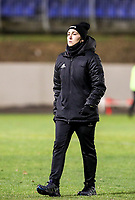 Head coach Audrey Demoustier of Woluwe pictured after the warm up before  a female soccer game between FC Femina White Star Woluwe and Club Brugge YLA on the eleventh matchday of the 2020 - 2021 season of Belgian Scooore Womens Super League , Friday 22 January 2021  in Woluwe , Belgium . PHOTO SPORTPIX.BE | SPP | SEVIL OKTEM