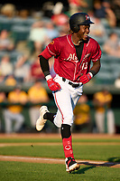 Altoona Curve Oneil Cruz (13) runs to first base after hitting a single during a game against the Erie Seawolves on September 7, 2021 at Peoples Natural Gas Field in Altoona, Pennsylvania.  (Mike Janes/Four Seam Images)