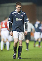 Raith's Dougie Hill is sent off after his challenge on Accies Darian MacKinnon.