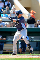 Tampa Bay Rays shortstop Jake Hager #21 during a Spring Training game against the Detroit Tigers at Joker Marchant Stadium on March 29, 2013 in Lakeland, Florida.  (Mike Janes/Four Seam Images)