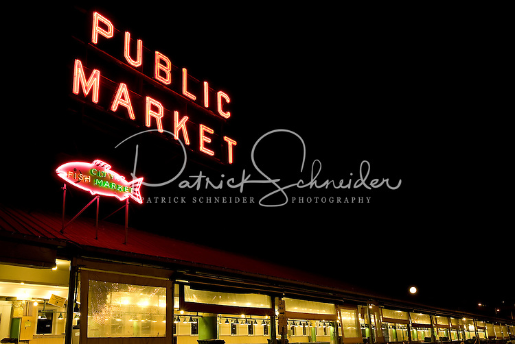 Sign at Pike Place Market in Seattle Washington.