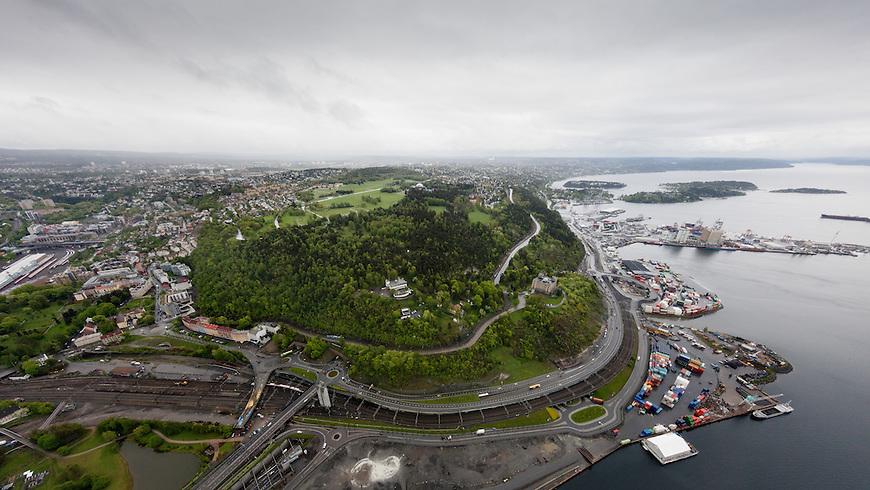 Oslo fra lufta, 20150519. Ekeberg og Sjursøya. Foto: Eirik Helland Urke