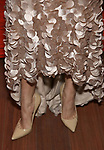 """Eva Noblezada, dress and shoe detail, attends The Opening Night After Party for the New Broadway Production of """"Miss Saigon"""" at Tavern on the Green on March 23, 2017 in New York City"""