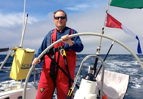 Peter Ryan at the helm of the J/109 Mojito in the Fastnet Race